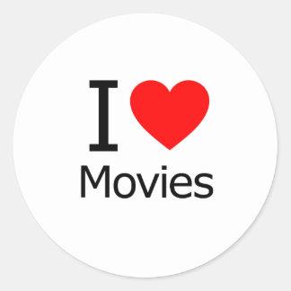 Amo películas pegatinas redondas