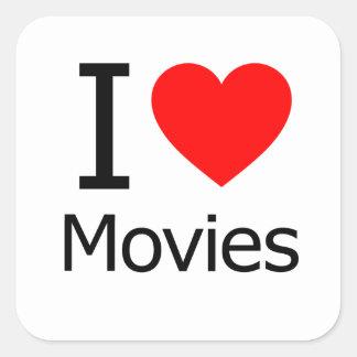 Amo películas pegatina cuadradas