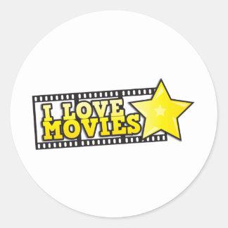 Amo películas pegatina redonda