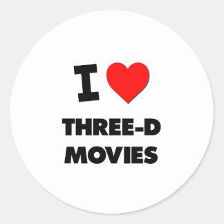 Amo películas tridimensionales pegatinas redondas