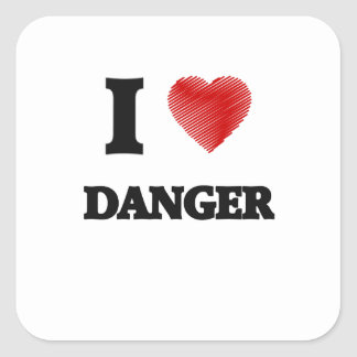 Amo peligro pegatina cuadrada