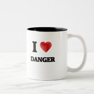 Amo peligro taza de café de dos colores