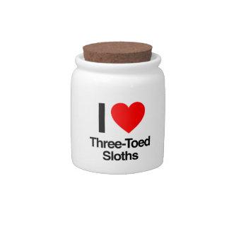 amo perezas tres-tocadas con la punta del pie jarras para caramelos
