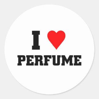 Amo perfume pegatinas redondas