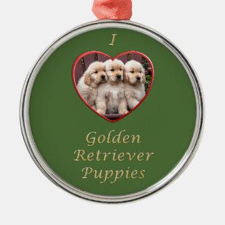 Amo perritos del golden retriever adorno de reyes
