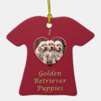 Amo perritos del golden retriever ornamentos de reyes magos