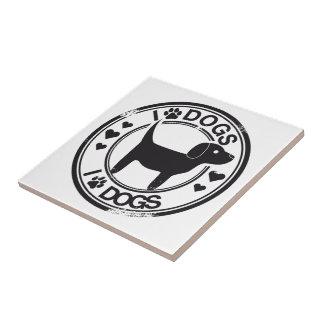 Amo perros con el perrito azulejo cuadrado pequeño