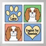 Amo perros de aguas de juguete inglés impresiones