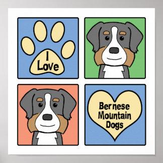 Amo perros de montaña de Bernese Póster