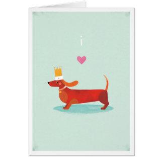 Amo perros de salchicha tarjeta de felicitación