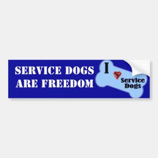 Amo perros del servicio etiqueta de parachoque