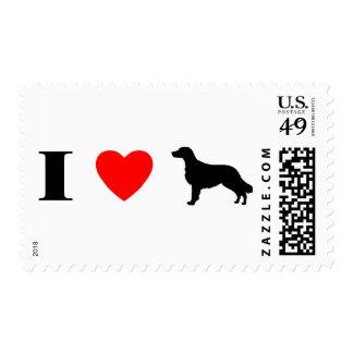 Amo perros perdigueros revestidos planos estampilla