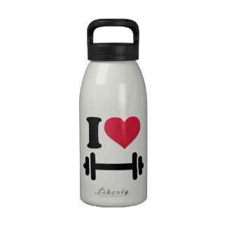 Amo pesa de gimnasia del barbell botellas de agua reutilizables