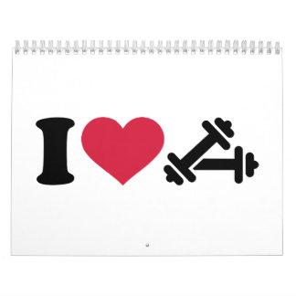 Amo pesa de gimnasia del barbell calendario de pared