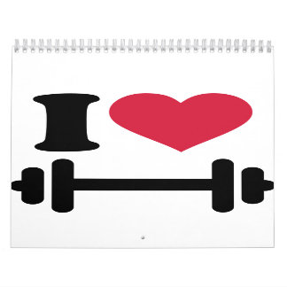 Amo pesa de gimnasia del barbell calendarios de pared