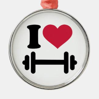 Amo pesa de gimnasia del barbell adorno redondo plateado