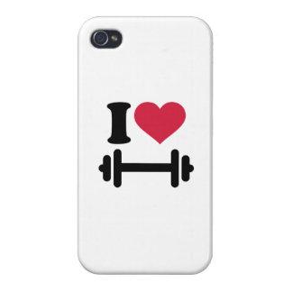 Amo pesa de gimnasia del barbell iPhone 4 protectores