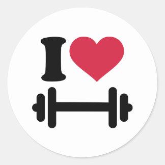 Amo pesa de gimnasia del barbell pegatina redonda