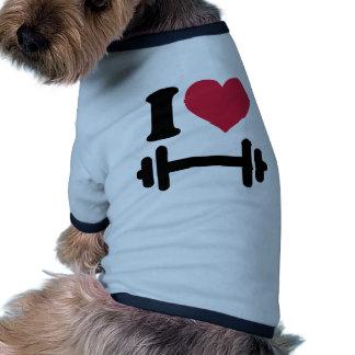 Amo pesa de gimnasia del barbell camiseta con mangas para perro