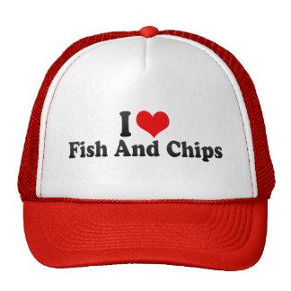 Amo pescado frito con patatas fritas gorra
