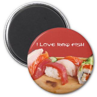 Amo pescados crudos imán redondo 5 cm