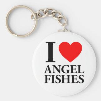 Amo pescados del ángel llavero redondo tipo pin