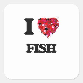 Amo pescados pegatina cuadrada