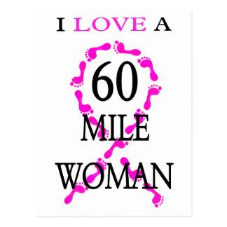 amo pies de 60 millas de la mujer de una cinta del postal