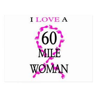 amo pies de 60 millas de la mujer de una cinta del postales