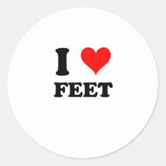 Amo pies etiqueta redonda