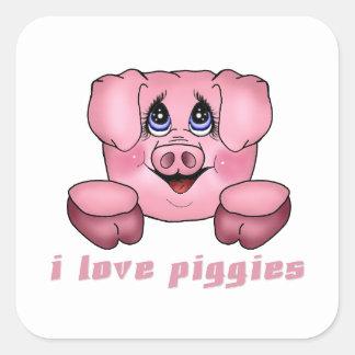 Amo Piggies Pegatina Cuadrada