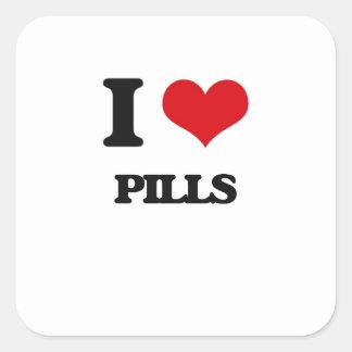 Amo píldoras calcomanias cuadradas