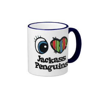 Amo pingüinos de Jackass (del corazón) Taza De Dos Colores