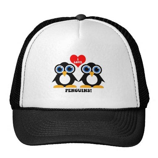 Amo pingüinos gorro de camionero