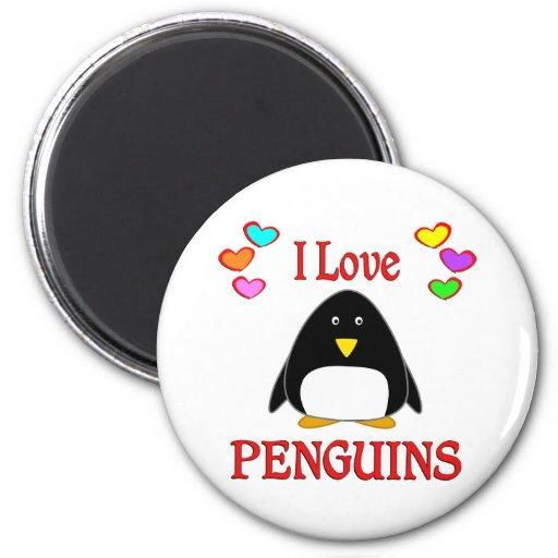 Amo pingüinos imán para frigorifico