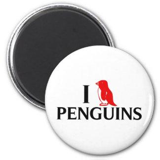 Amo pingüinos imán redondo 5 cm
