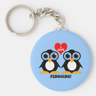 Amo pingüinos llavero redondo tipo pin