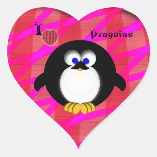 Amo pingüinos pegatina en forma de corazón