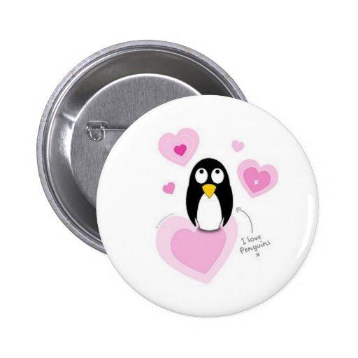 Amo pingüinos pin redondo 5 cm
