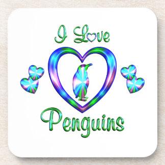 Amo pingüinos posavasos de bebida