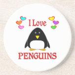 Amo pingüinos posavasos personalizados