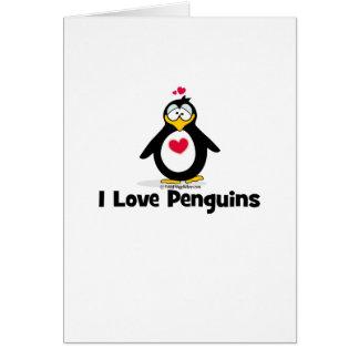 Amo pingüinos tarjeta de felicitación