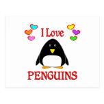 Amo pingüinos tarjeta postal