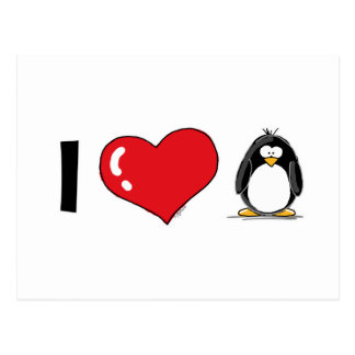 Amo pingüinos tarjetas postales