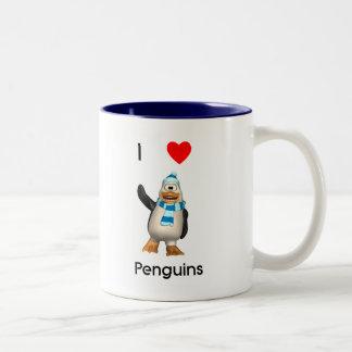 Amo pingüinos taza dos tonos