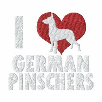 Amo Pinschers alemanes bordé la manga larga