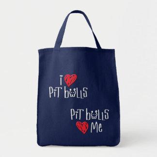 Amo pitbulls - los pitbulls me aman bolsa tela para la compra