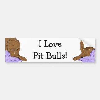 ¡Amo pitbulls! Pitbull lindo en una manta Pegatina Para Auto