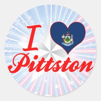 Amo Pittston, Maine Pegatina Redonda