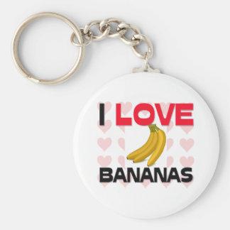 Amo plátanos llavero redondo tipo pin